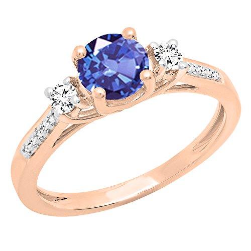 14K Rose Gold 6mm Rund Tansanit, weißer Saphir & Diamant Bridal Engagement Ring (Größe 5,5) (Preiswerte Diamant-ringe)
