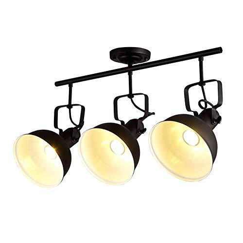Spotlight Vintage E27 Deckenleuchte, Retro Spotleuchte 3- Flammig Design Deckenstrahler Rustikal Lampenschirm aus Metall Deckenlampe,Schwarz Deckenbeleuchtung (72CM*35CM) -