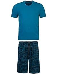 strellson Ensemble pyjama homme court, shorty, col rond, uni, M-XXL - Petrol