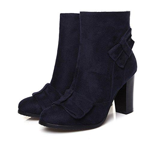 Farfallino In Blu Per Eleganti Tacchi Unico Alti Donna Boots L'toe Camoscio Tutto Blocco Uh Con Scarpe Giorno wxZUTOvqIn