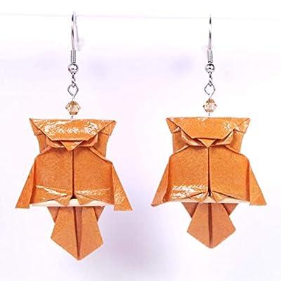 Boucles d'oreilles chouettes (hiboux) origami marrons sur leur branche - crochets inox