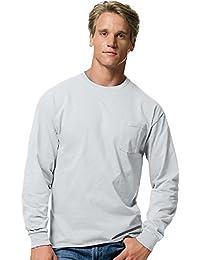 Hanes Men's TAGLESS Long-Sleeve T-Shirt with Pocket_Ash