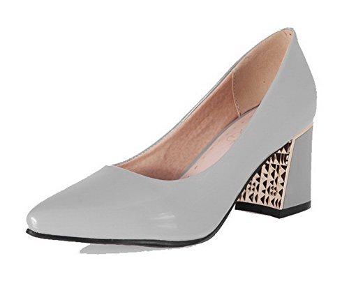 VogueZone009 Femme à Talon Correct Verni Couleur Unie Tire Pointu Chaussures Légeres Gris