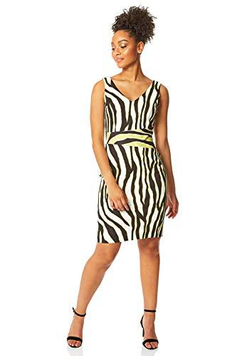 Roman Originals Damen Scuba-Kleid mit Zebra-Print und Kontrasten – Damen Bodycon-Kleid, besondere Anlässe, Partys, tailliert, V-Ausschnitt, Knielang, ärmellos – Limette – Größe 42