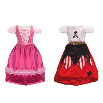 Girls Kinder 2in1 Pink Princess Wende & Piraten Kostüm 3-5 (Caribbean Princess Kostüme)