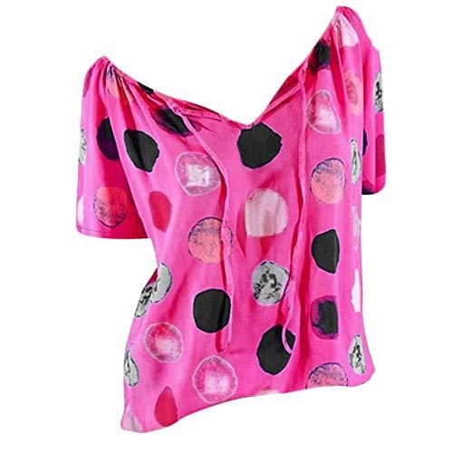 Weihnachtsbluse für Damen,Mosstars Frauen Große Größe Lange Ärmel Oansatz Polka Dot Bluse Pullover Tops Shirt Kapuzenpullover Oberteile Tunika Blusen (Hot Pink A, S)