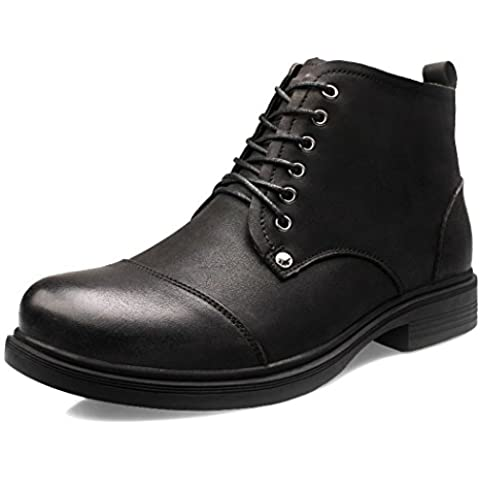 YC Top Moda Hombre Zapatos High-Top de piel Business Casual botas tamaño 9 UK, color negro