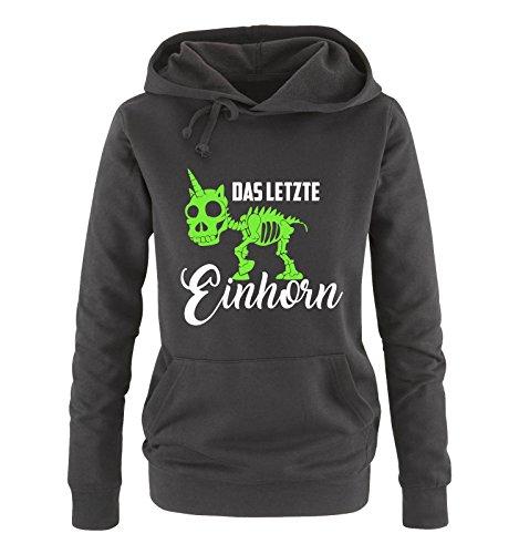 Comedy Shirts - Das letzte Einhorn - Skelette - Damen Hoodie - Schwarz/Weiss-Neongrün Gr. XXL (Skelett Hoodie Für Frauen)