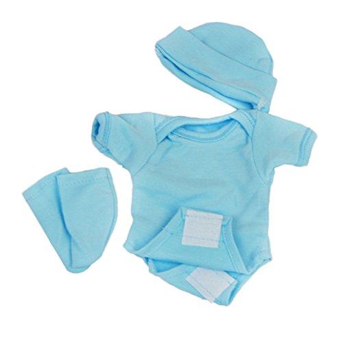 IPOTCH Mameluco de Manera + Sombrero + Calcetines para 10 - 11 Pulgadas Bebé Recién Nacido Muñeca - Azul