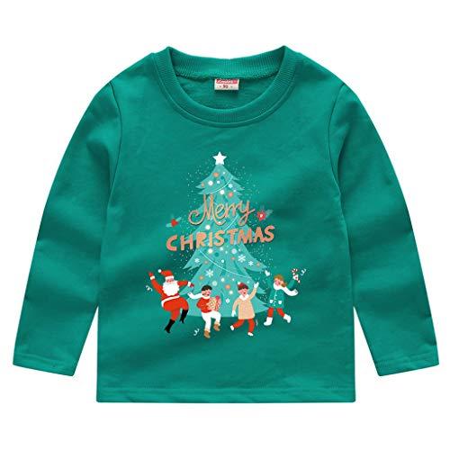 Obestseller Langärmlige Oberteile für Kinder im Herbst und Winter Weihnachtsbaum drucken Pullover Warm halten Sweatshirt Kinder Unisex Babybekleidung 0-6 Monate