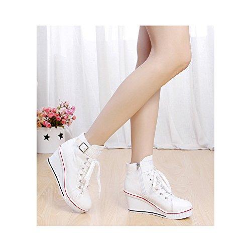 Femme Baskets Mode en Toile Talon Compensé Chaussures de Sport Platform #5 Blanc