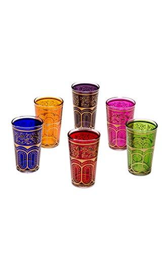 Verres à thé orientaux décoré Set de 6Verres colorés| Verres à thé marocains 6couleurs Décoration orientale | 6x verres à thé marocains orientaux décorés | divers motifs, Verre, Laylana, 9 x 5 cm