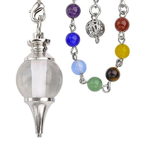 JOVIVI Beautiful Crystal Quartz Pendulum Dowsing Chakra Healing Pendant/Bracelet Combination With 7 Chakras Gemstone
