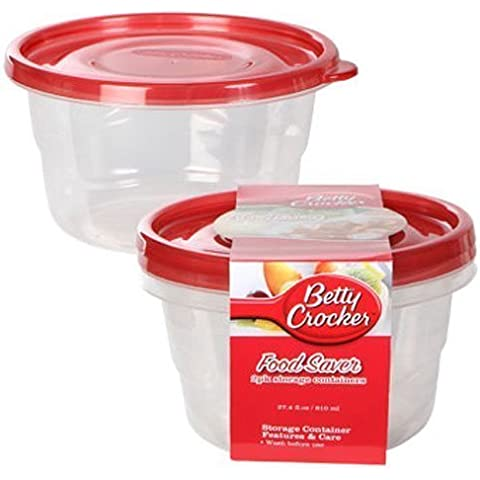 Reusable Food Containers - Betty Crocker Round Plastic Food Saver Storage Containers, 2-ct. Packs by Betty Crocker