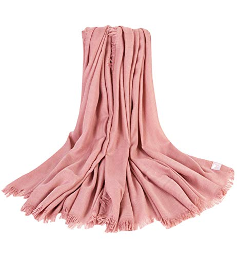Superora sciarpa donna invernale in cotone lino foulard scialle caldo con nappa rosa scuro