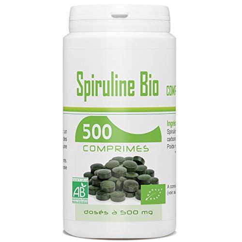 Spiruline Bio AB 500 MG - 500 comprimés - Spécialement très riche en Protéines, Phycocyanine, Chlorophylle, Caroténoïde et Fer.