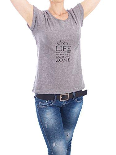 """Design T-Shirt Frauen Earth Positive """"LIFE BEGINS"""" - stylisches Shirt Typografie von Stephanie Wünsche Grau"""