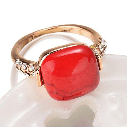 HJWMM Europäische Und Amerikanische Retro-Ring, Mode Diamant Türkis Ring,Red,17Mm