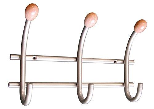 HSI Garderobenleisten mit 3 Haken und Bucheoliven Eisen, 210 x 130 x 60 mm, nickelfarbig, 506910