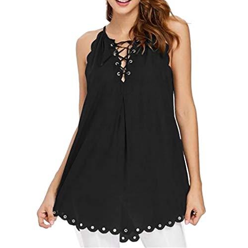 VJGOAL Tops Damen Sommer Sexy Elegant Große Größen T Shirt Casual Einfarbig Rundkragen Ärmellos Lace Bluse(Schwarz,XL)