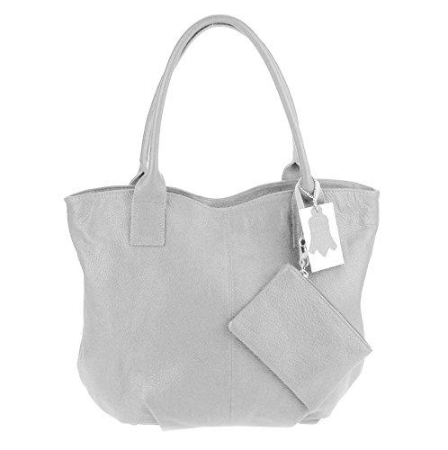 Made Italy , Cabas pour femme 40x33x14 cm (BxHxT) gris clair