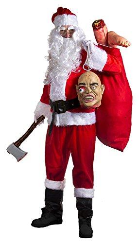 Halloween Kostüm Bad Santa - ILOVEFANCYDRESS EVIL KILLER NIKOLAUS HALLOWEEN-VERKLEIDUNG DELUXE BAD 16-TEILIG, NIKOLAUS-OUTFIT, MIT ABGETRENNTEN KOPFES & BEINE AXE ZOMBIE, EVIL WEIHNACHTSMANN (S-XXXXL)
