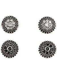 """SIX """"Basic"""" Set aus 2 Paar Damen Ohrsteckern, rund, silber gemustert mit Blumen-Form aus Strasssteinen in Weiß und Schwarz (100-693)"""