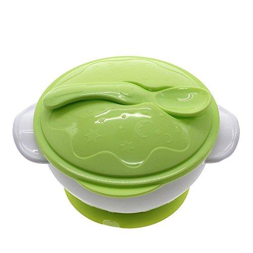 pengmma bebé Kids dieta con ventosa cuenco con cuchara verde