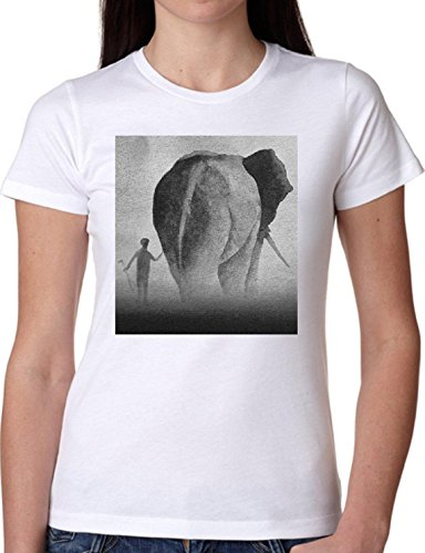 T SHIRT JODE GIRL GGG22 Z1917 ELEPHANT WILD ANIMAL CHILD SAVANA AFRICA FUN FASHION COOL BIANCA - WHITE