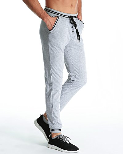 MODCHOK Herren Jogginghose Lange Sport Hose Fitnesshose Cargo Traininghose Pants Hellgrau
