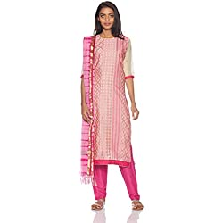 BIBA Women's Synthetic Dress Material (RS AW17 4434A_Pink_One Size)