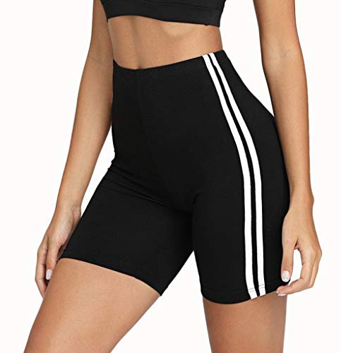 HROIJSL Frauen Mid Waist Yoga Stripe Fitness Hosen Hüften Enge Yoga Shorts lässige Kurze Hose Pants - Hotpants Sport Leggings Laufhose Training Tights elastische elastische Taille -