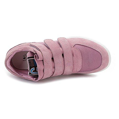 Shenn Femmes Classique Milieu Invisible Talon Compensé Suède Plus Haut Velcro Mode Baskets 5516 Rose