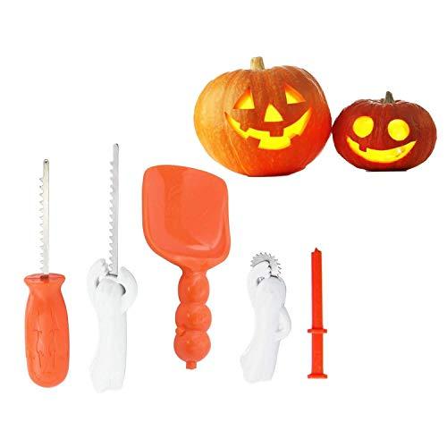 Hepooya Halloween Kürbis Schnitzset, Halloween Dekoration Kürbis Schnitzwerkzeuge für Kinder Kürbis Carving Kits mit 5 Tools und 10 Carving Template