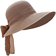 WDILO Elegante Sombrero de Paja de Verano Transpirable con Bowknot Playa Big Brim Sombrero Sombrero Sombrero Sombrero Sombrero Sombrero para Mujer, caqui, 56-58cm