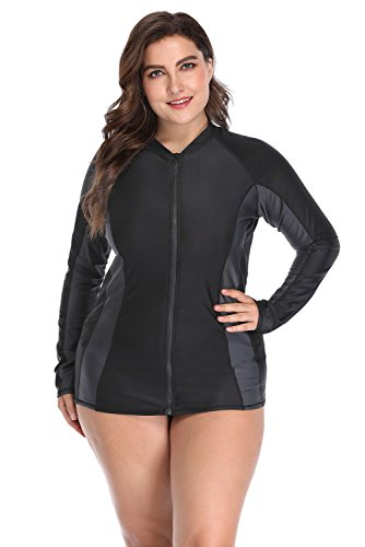 0ddf20d90cb ATTRACO Women Long Sleeve Zip Rash Vest Plus Size Colourblock Swimwear Swimsuit  Rash Guard UV Swim