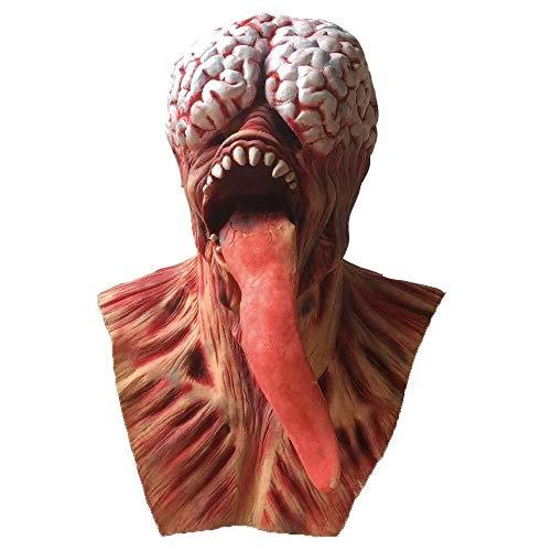 WANG XIN Zombie Vollkopf Gesichtsmaske Halloween Horror Scary Evil Clown Rotes Gesicht Schlangenzunge Latex Maske Cosplay Kostüm Prop (rot) (Color : Red)