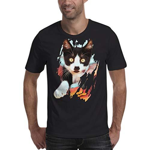 Xmiral T-Shirt Oberteile Hemd Herrenmode Freizeit 3D Grafiken Gedruckt Polyester Kurzarm Top O-Ansatz XS-2XL(M,E)