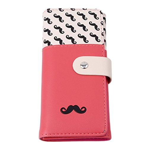 JOOFFF Frauen PU Handtasche Geldbörse Kartenhalter Schnurrbart Bart Muster Lange Stil, Wassermelone Rot