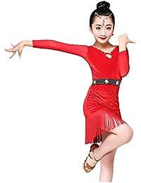 Concurso de belleza de chicas Niños Niñas Vestido de Baile Latino Manga  Larga Fringe Borlas Rumba 9c504ae308009