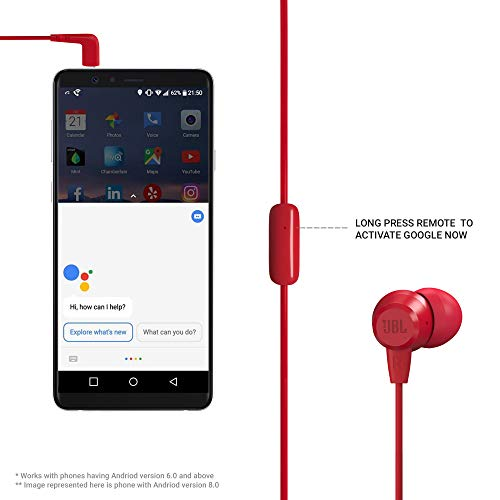 JBL C50HI in-Ear Headphones with Mic (Crimson) Image 4