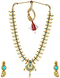 Anuradha Art Sky-Blue Tone Very Classy Stylish Shimmering Stone Traditional Necklace Set For Women/Girls