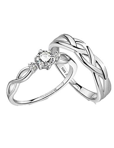 *Summens Schmuck Paar Ringe 925 Sterling Silber Weben Diamant Partnerringe Hochzeitsring für Liebespaar*