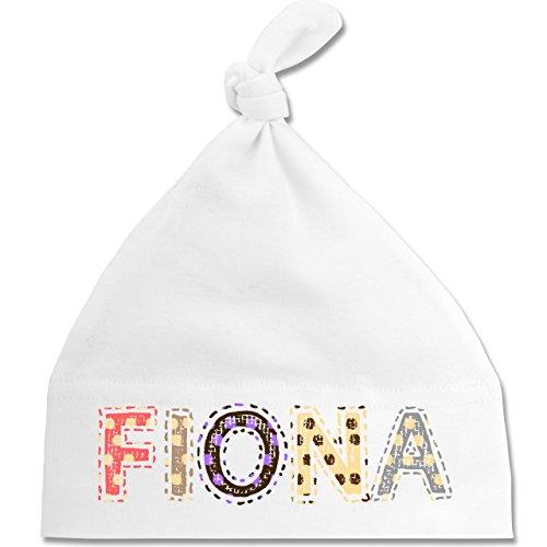 Mädchen - Name - FIONA Punkte Bunt - Unisize - Weiß - BZ15 - - Babymütze - mit Knoten
