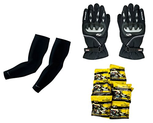 Auto Pearl Premium Quality Bike Accessories Combo Of Arm Sleeve for Protection against Sun, Dust and Pollution Black 2 Pcs. & Vemar 1 Pair of Full Hand Grip Gloves for Bike Motorcycle Scooter Riding - (Black) & Air Gloss Wax Foam Instant Shiner  available at amazon for Rs.2734