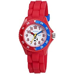 Tikkers Boy's Quartz Watch with White Dial Analogue Display and Red Rubber Strap TK0040
