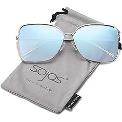 27ced50d9fdfb SOJOS Gafas De Sol Para Mujer Moda Cuadrado Oversized Lente Plano Marco  Metal SJ1082 Con Marco