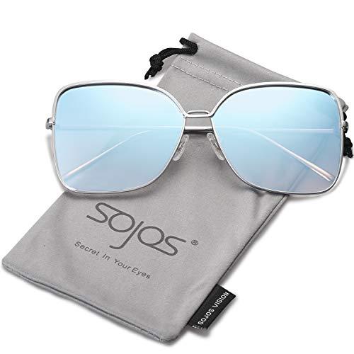 SOJOS Damen Sonnenbrille Neue Modell Metall Flach Linsen Groß SJ1082 mit Silber Rahmen/Blau verpiegelte Linse
