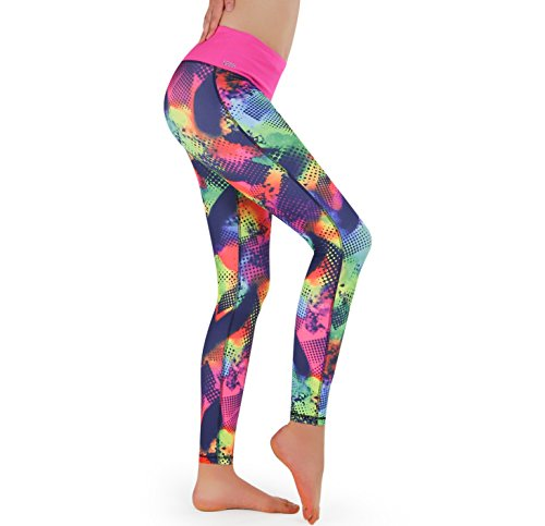 Formbelt Pantalon Running Femme avec Ceinture Running/Running-Belt - Pantalon de Course/Leggings Yoga - Sport - Fitness | Long, imprimé (Brazil, M)