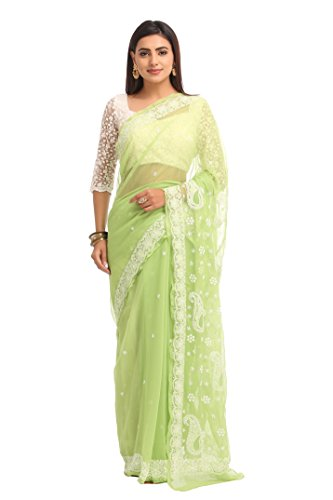 ADA Lucknow Chikan Green Georgette Casual Wear Saree With Latest Handmade Work...